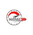 5g network wireless technology digital speedmeter vector image