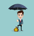 a businessman standing holding umbrella protecting vector image