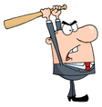 Angry Businessman With Baseball Bat vector image vector image