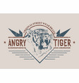 angry tiger retro label vector image vector image