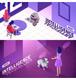 artificial intelligence isometric banners vector image vector image