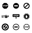 black stop icon set vector image vector image