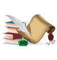 books feather and old paper scroll vector image