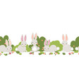 bunny seamless border cute bunnies repeat vector image vector image