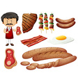Butcher and meat products vector image vector image