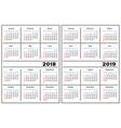 calendar template 2018 2019 vector image vector image