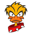 cartoon evil face duck with collar vector image vector image