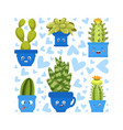 collection cute green cactus and succulent vector image vector image