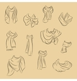 Collection of realistic scarves Fashionable vector image vector image