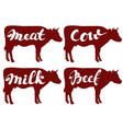 cow llustration sketch set logo vector image vector image
