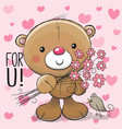 cute cartoon teddy bear with a flower vector image vector image
