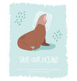 eco poster with sea lion stop plastic pollution vector image vector image