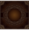 Elegant brown background with round lace ornament vector image