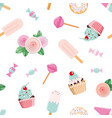 festive seamless pattent with flowers and sweets vector image