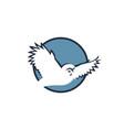flying owl emblem vector image vector image