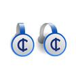 ghana cedi symbol on blue advertising wobblers vector image