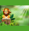 happy cartoon lion sitting on tree stump with gree vector image vector image