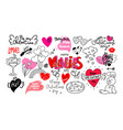 happy valentine s day dooddle art collection of vector image vector image