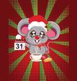 kawaii santa mouse vector image vector image