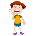 Little boy having toothache vector image