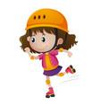 little girl rollerskating with helmet on vector image