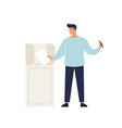 man putting ballot in box taking part at voting vector image vector image