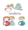 Newborn doodle Icon set vector image vector image