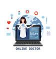 online doctor women healthcare concept icon set vector image vector image