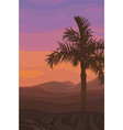 painted valley background at sunset with palm tree vector image vector image