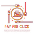 pay per click poster and text vector image vector image