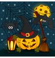 pumpkin in eve halloween night vector image