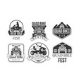 quad bike fest premium retro labels set rental vector image vector image