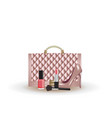 quilted pink handbag with shoe and cosmetics vector image vector image