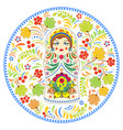 russian doll matryoshka and abstract flowers vector image