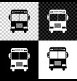 school bus icon isolated on black white and vector image