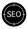 seo sign solid icon seo and aim vector image