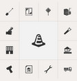 set of 13 editable building icons includes vector image