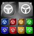 Steering wheel icon sign Set of ten colorful vector image