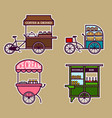 street food cart bold outline vector image