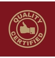 The certified quality and thumbs up icon Approval vector image