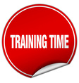 training time round red sticker isolated on white vector image vector image