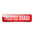 Trusted brand red square 3d realistic isolated vector image