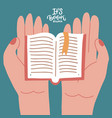 two hands holding onen book education literature vector image