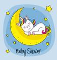 unicorn sleeping on a moon vector image