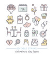 valentine icon set happy valentine day related vector image vector image