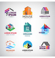 vecor set of house building logos icons real vector image