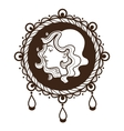 Vignette frame with woman profile vector image