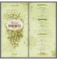 Vintage wine menu design Document template vector image vector image