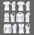 woman clothing mockup models white sport shirts vector image