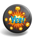Word yes on round badge vector image